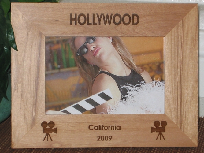 Hollywood Picture Frame - Personalized Hollywood Souvenir - Laser Engraved Movie Cameras