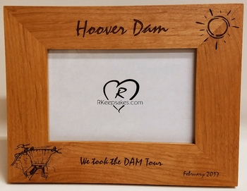 Hoover Dam Picture Frame - Personalized Frame - Laser Engraved Dam