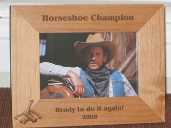 Horseshoe Game Picture Frame - Personalized Frame - Laser Engraved Horseshoes