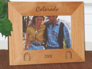Horseshoe Picture Frame - Personalized Western Frame - Laser Engraved Horseshoes
