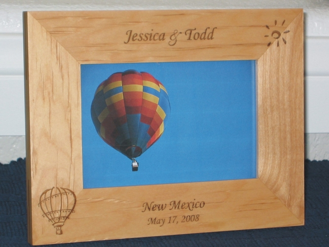 Hot Air Balloon Picture Frame - Personalized Frame - Laser Engraved Hot Air Balloon & Sun