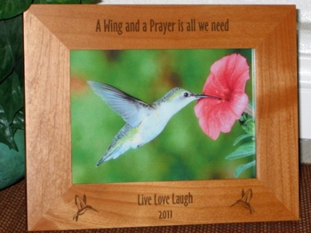 Hummingbird Picture Frame - Personalized Frame - Laser Engraved Hummingbirds