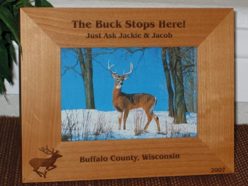 Hunting Picture Frame - Personalized Frame - Laser Engraved Deer