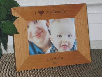 I  Love Mommy Picture Frame - Personalized Frame - Laser Engraved I Love My Mom