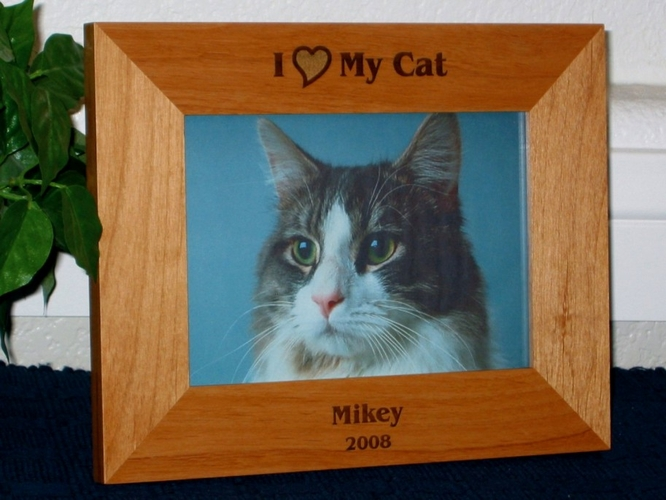 I Love My Cat Picture Frame - Personalized Cat Frame - Laser Engraved I Love My Cat