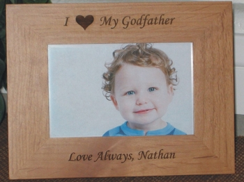 i love my godfather personalized frame laser engraved heart