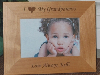I Love My Grandparents Picture Frame - Personalized Frame - Laser Engraved Heart