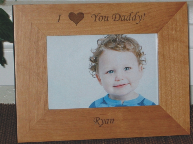 I Love You Dad Picture Frame - Personalized Frame - Laser Engraved We Love You Dad