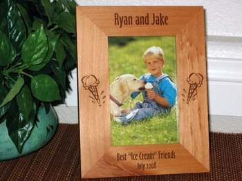 Ice Cream Cone Picture Frame - Personalized Frame - Laser Engraved Ice Cream Cone