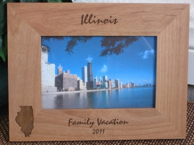 Illinois Picture Frame - Personalized Frame - Laser Engraved State of Illinois
