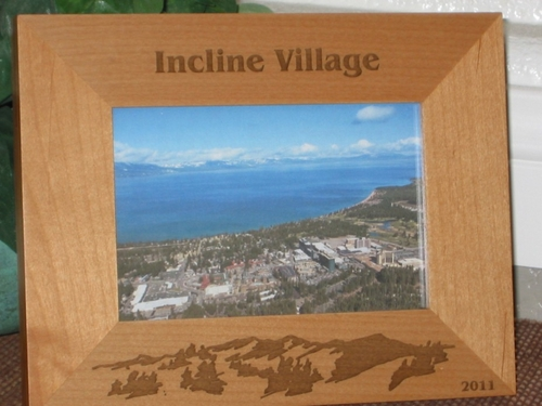 Incline Village Picture Frame - Personalized Frame - Laser Engraved Mountains