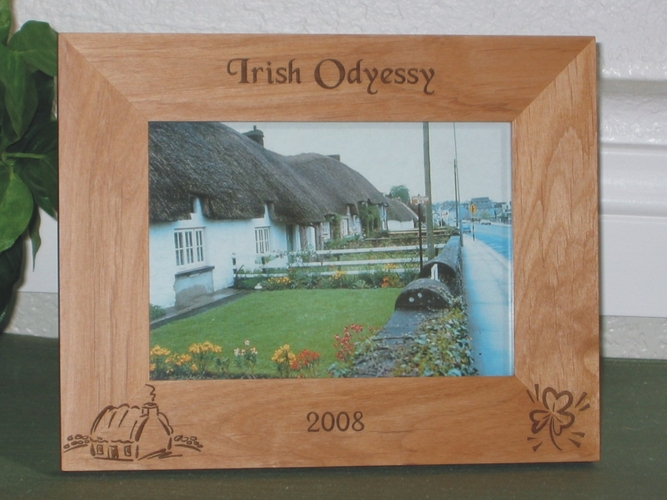 Ireland Picture Frame - Personalized Frame - Laser Engraved Cottage and Irish Shamrock