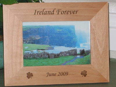 Ireland Picture Frame - Personalized Frame - Laser Engraved Shamrocks