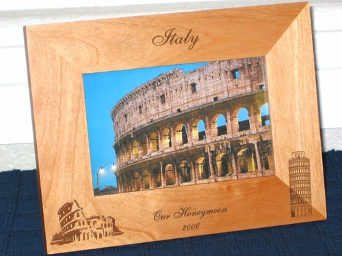 Italy Picture Frame - Personalized Frame - Laser Engraved Souvenir