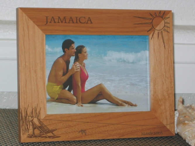 Jamaica Picture Frame - Personalized Souvenir Frame - Laser Engraved Beach Theme & Beach Chair
