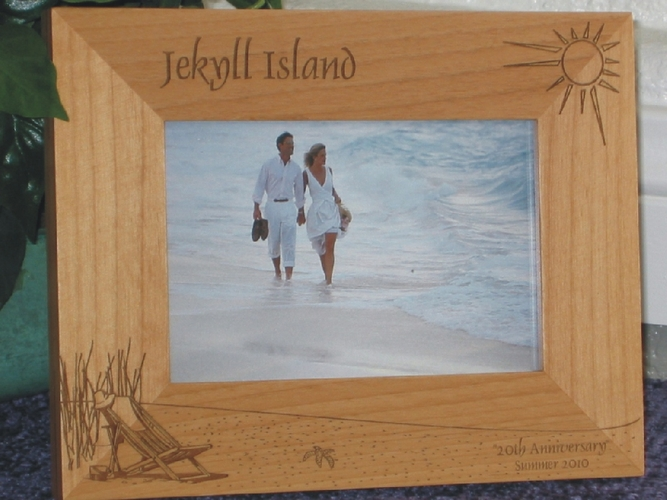 Jekyll Island Picture Frame - Personalized Frame - Laser Engraved Beach Theme