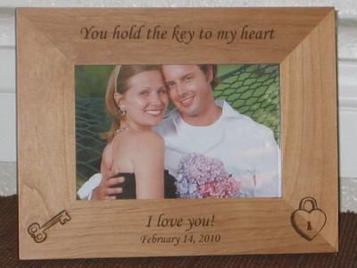 Key to Heart Picture Frame - Personalized Frame - Laser Engraved Key & Heart Lock