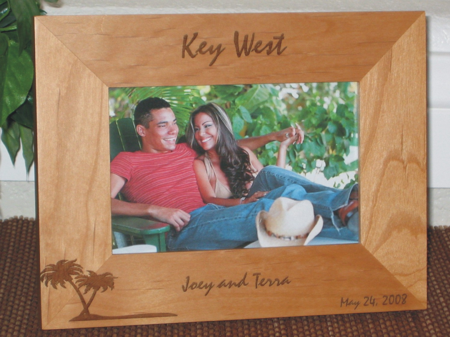 key west picture frame personalized frame laser engraved palm tree