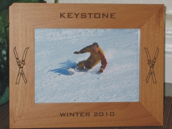 Keystone Picture Frame - Personalized Frame - Laser Engraved Skiis