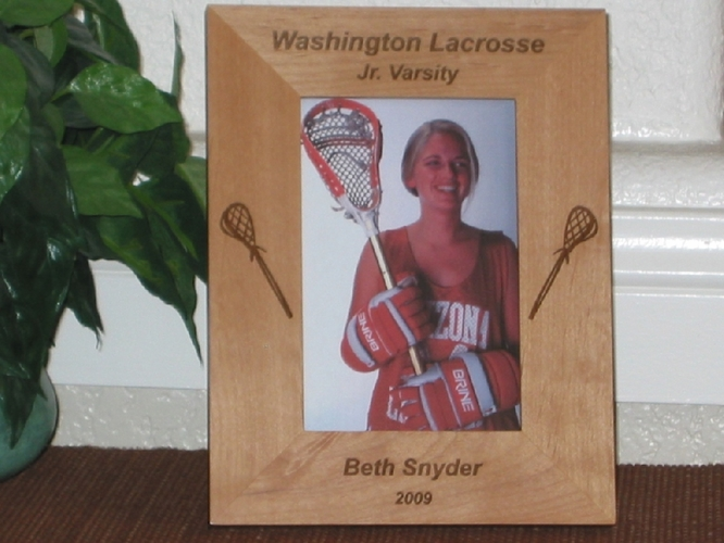 Lacrosse Picture Frame - Personalized Frame - Laser Engraved Lacrosse Sticks
