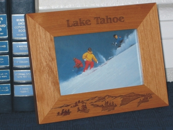 Lake Tahoe Picture Frame - Personalized Frame - Laser Engraved Mountains