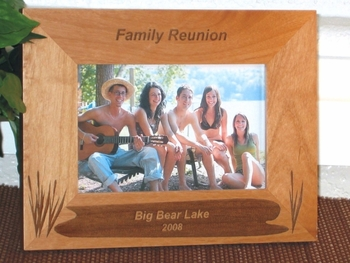 Lake Theme Picture Frame - Personalized Frame - Laser Engraved Lake with Cattails