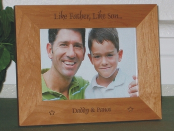 Like Father Like Son Picture Frame - Personalized Frame - Laser Engraved Stars