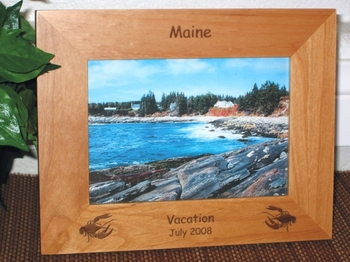 Lobster Picture Frame - Personalized Frame - Laser Engraved Lobsters