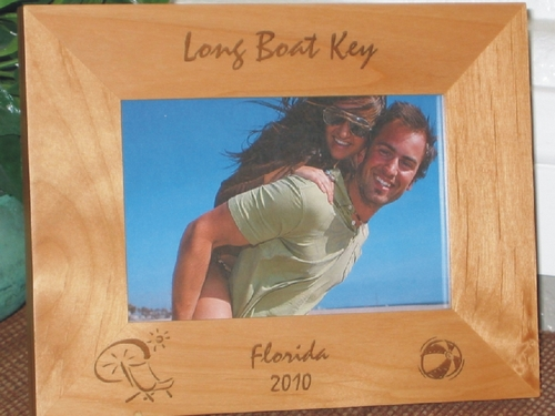 Long Boat Key Picture Frame - Personalized Frame - Laser Engraved Beach Chair & Ball
