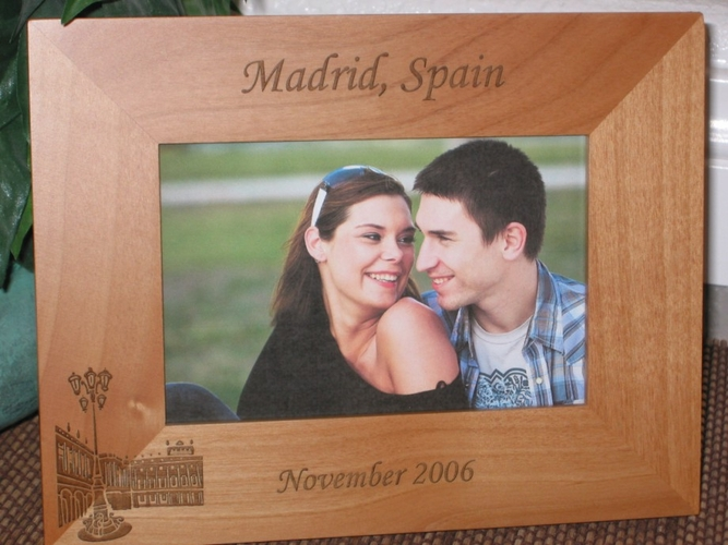 Madrid Spain Picture Frame - Personalized Frame - Laser Engraved Madrid Landmark