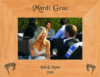 Mardi Gras Picture Frame - Personalized Frame - Laser Engraved Masks