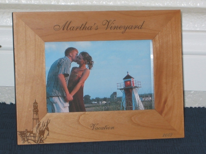 Martha's Vineyard Picture Frame - Personalized Frame - Laser Engraved Lighthouse Theme