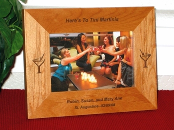 Martini Picture Frame - Personalized Frame - Laser Engraved Martini