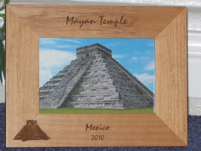 Mayan Picture Frame - Personalized Frame - Laser Engraved Mayan Temple