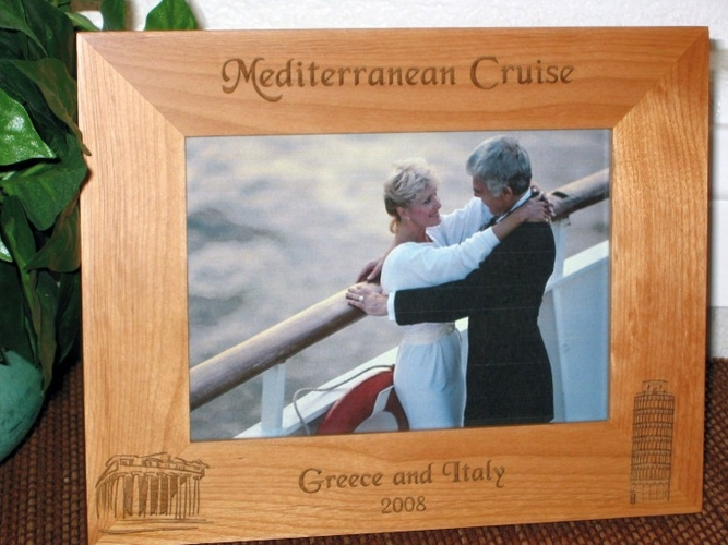 Mediterranean Cruise Picture Frame - Personalized Frame - Laser Engraved Italy & Greece Icons