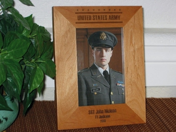 Military Picture Frame - Personalized Frame - Laser Engraved Stars and Stripes for ARMY, AIR FORCE, NAVY,  MARINES
