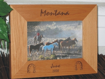 Montana Picture Frame - Personalized Frame - Laser Engraved Horseshoes