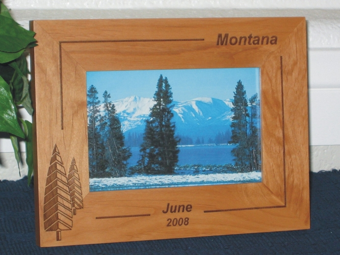 Montana Picture Frame - Personalized Frame - Laser Engraved Pine Trees