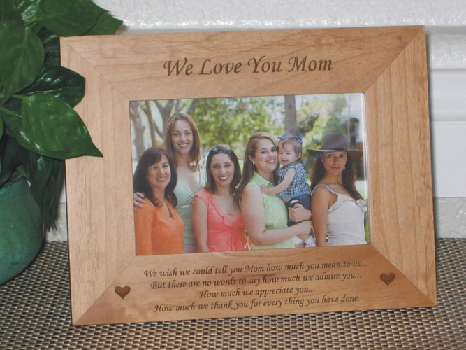 Mothers Day Poem Picture Frame - Personalized Frame - Laser Engraved Mothers Day Poem with Hearts