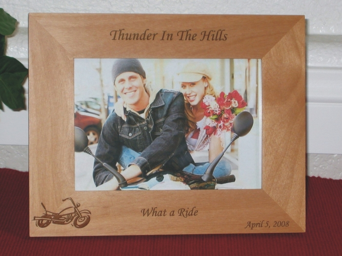 Motorcycle Picture Frame - Personalized Frame - Laser Engraved Motorcycle