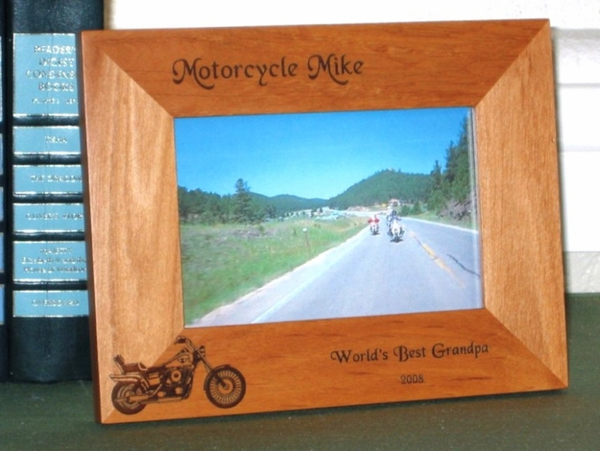 Motorcycle Picture Frame - Personalized Picture Frames - Laser Engraved Harley Motorcycle