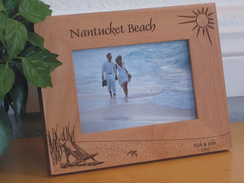 Nantucket Island Picture Frame - Personalized Frame - Laser Engraved Beach Theme