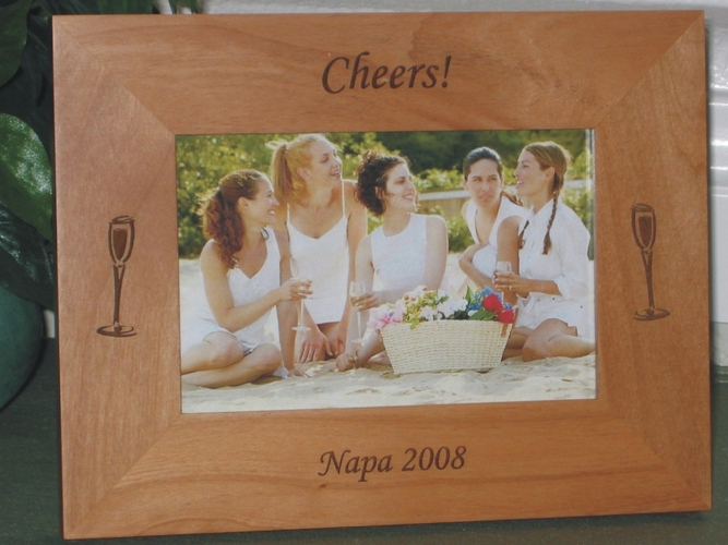 Napa Valley Picture Frame - Personalized Frame - Laser Engraved Wine Glasses