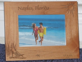 Naples Picture Frame - Personalized Frame - Laser Engraved Beach Scene
