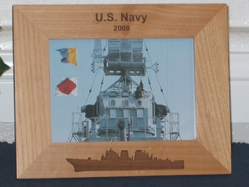 Navy Ship Picture Frame - Personalized Military Frame - Laser Engraved Navy Ship