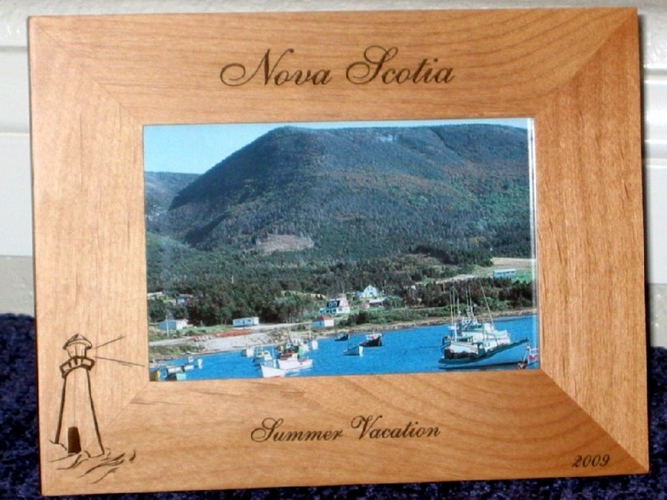 Nova Scotia Picture Frame - Personalized Frame - Laser Engraved Lighthouse