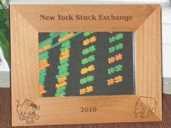 NY Stock Exchange Picture Frame - Personalized Frame - Laser Engraved Bull & Bear