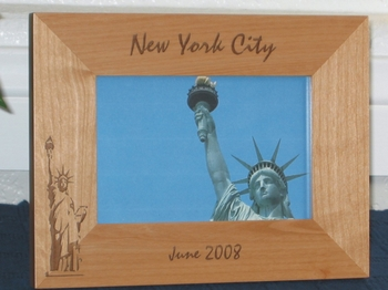 NYC - Statue of Liberty Picture Frame - Personalized Souvenir Frame - Laser Engraved Statue of Liberty
