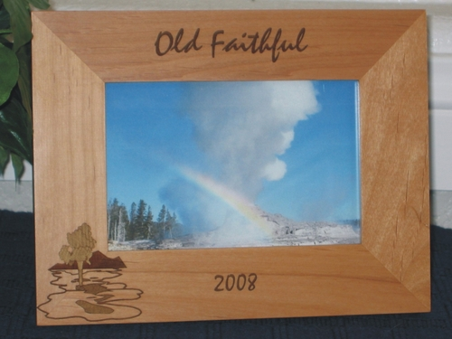 Old Faithful Picture Frame - Personalized Frame - Laser Engraved Geyser