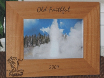 Old Faithful Picture Frame - Personalized Frame - Laser Engraved Old Faithful Geyser - Wyoming